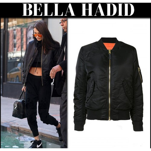 Bella Hadid In Bomber Leather Jacket
