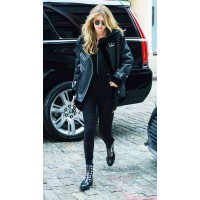 GIGI HADID SHEARLING LEATHER JACKET