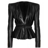 WOMEN ASYMMETRICAL BLACK LEATHER JACKET