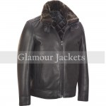 Wilsons Leather Mens Bomber Leather Jacket W/Detachable Fauxfur