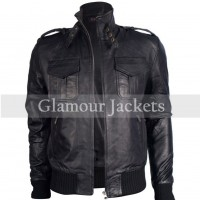 BOMBER BIKER REAL LEATHER JACKET