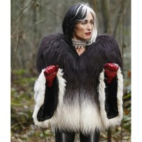 Once Upon a Time Cruella Deville Black and White Fur Jacket