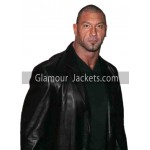 WWE Wrestler Dave Bautista Black Leather Jacket
