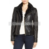 Irina' Leather Moto Jacket with Genuine Shearling Collar