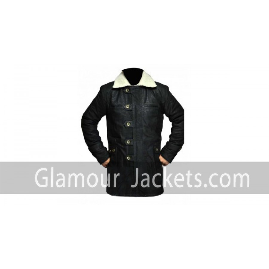 Snuffed Nubik Leather Coat Men Black With Shearling Glamour Jackets